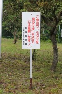 猪ヶ池の「小グマ注意」の看板